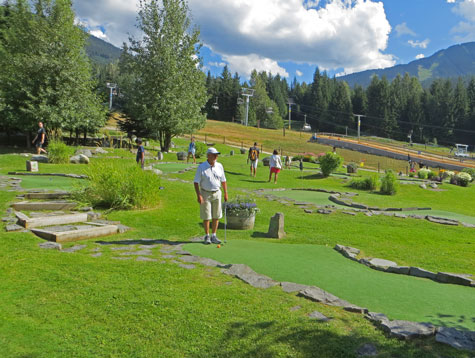 Mini-golfing at Chateau Whistler